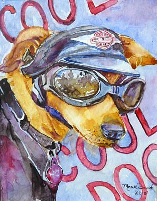 Weiner Dog Painting - Biker Weiner by P Maure Bausch