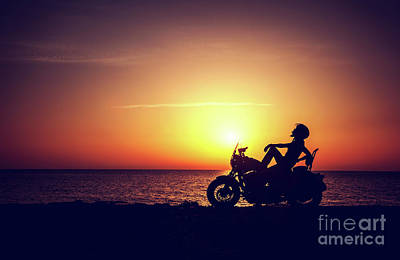 Photograph - Biker Woman Resting Outdoors by Anna Om