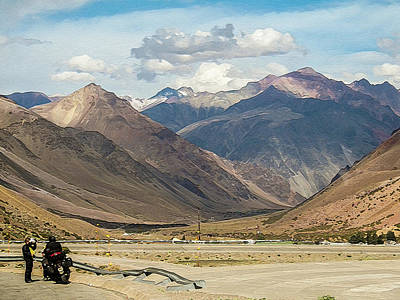 Bikers And The Andes Mountains Art Print