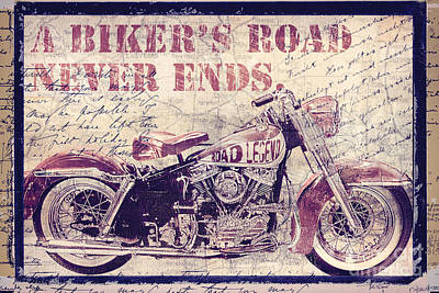 Motorbike Painting - Biker's Road Never Ends by Mindy Sommers