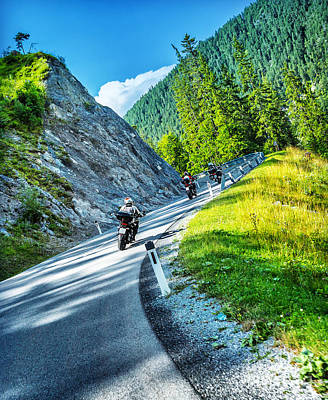 Photograph - Bikers Tour Along Alps by Anna Om