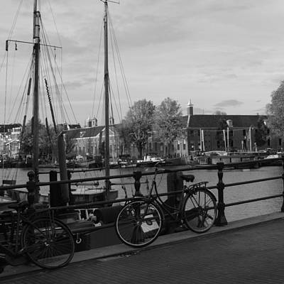 Photograph - Bikes And Barges by Cheryl Miller