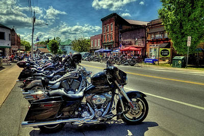 Bikes And Brews - Old Forge Ny Art Print by David Patterson