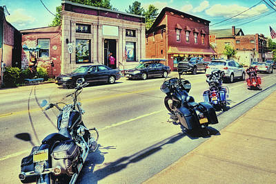 Photograph - Bikes And Brews - Postcard by David Patterson