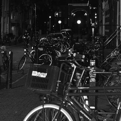 Photograph - Bikes At Night by Cheryl Miller