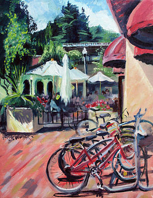Bikes At The Depot Cafe Art Print by Colleen Proppe