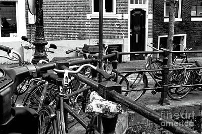 Photograph - Bikes Hanging Out Mono by John Rizzuto