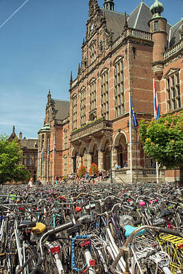 Photograph - Bikes In Front Of Dutch University by Patricia Hofmeester