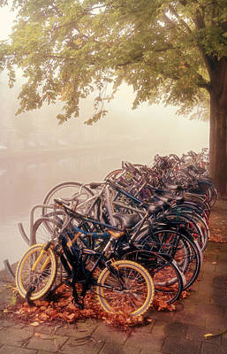 Bicycle Photograph - Bikes On A Foggy Morning by Joan Carroll