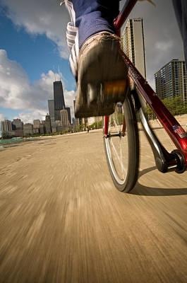 Lakefront Photograph - Biking Chicagos Lakefront by Steve Gadomski