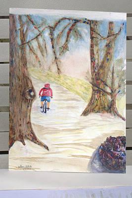 Biking In The Woods Art Print by Jonathan Galente