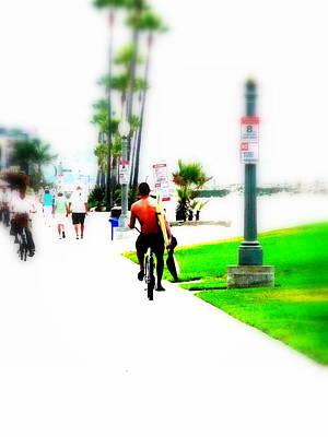 Funkpix Digital Art - Biking On Newport Beach by Funkpix Photo Hunter
