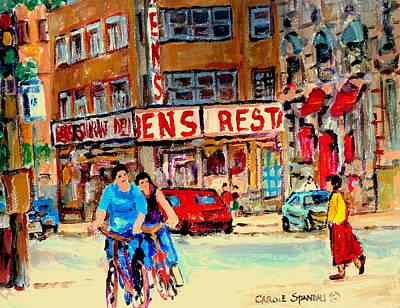 Montreal Streets Painting - Biking  Past Ben by Carole Spandau