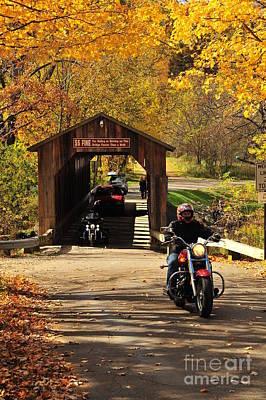 Biking The Historic Fallasburg Covered Bridge Art Print by Terri Gostola