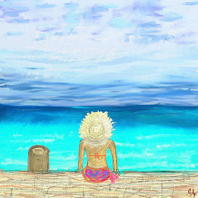 Digital Art - Bikini On The Pier by Jeremy Aiyadurai