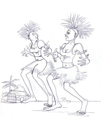 Drawing - Bikutsi Dance In Cameroon 04 by Emmanuel Baliyanga