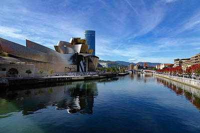 Photograph - Bilbao In Autumn With Blue Skies Next To The River Nervion by Andy Myatt