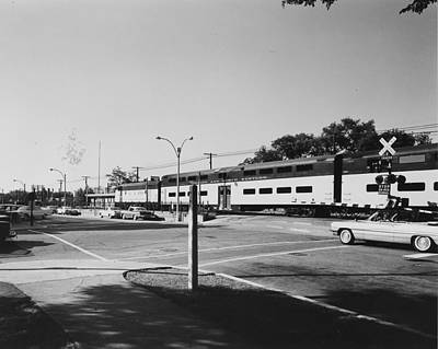 Photograph - Bilevel Train In Park Ridge - 1961 by Chicago and North Western Historical Society