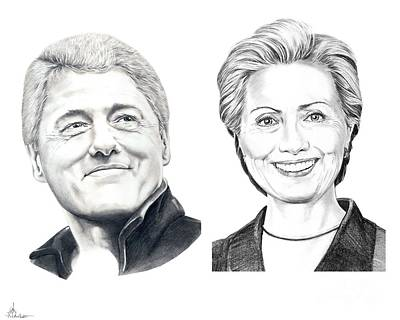 Famous People Drawing - Bill And Hillary by Murphy Elliott