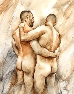 Nude Wall Art - Painting - Bill And Mark by Chris Lopez
