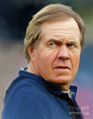 Pats Painting - Bill Belichick by Paul Tagliamonte