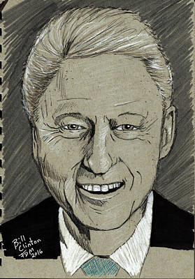 Drawing - Bill Clinton by Frank Middleton
