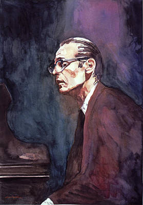 Jazz Legends Wall Art - Painting - Bill Evans - Blue Symphony by David Lloyd Glover
