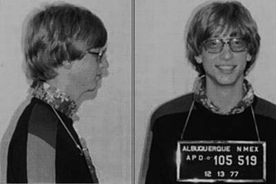 Bill Gates Mug Shot Horizontal Black And White Original