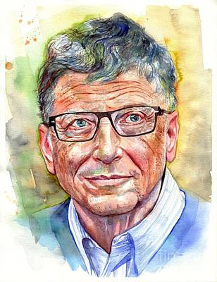 Harvard Wall Art - Painting - Bill Gates Portrait by Suzann's Art