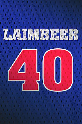 Closeup Mixed Media - Bill Laimbeer Detroit Pistons Number 40 Retro Vintage Jersey Closeup Graphic Design by Design Turnpike