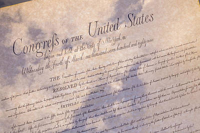 Bill Of Rights With Clouds Art Print