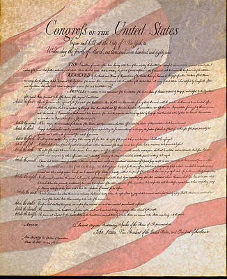 Photograph - Bill Of Rights With Us Flag Testured by Jack R Perry
