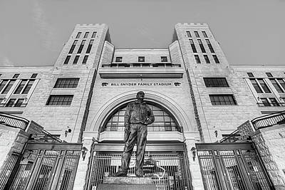 Bill Snyder Family Stadium In Black And White Art Print by JC Findley