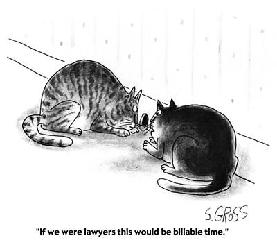 Sam Gross Drawing - Billable Time by Sam Gross