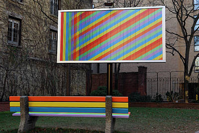Billboard And Bench Art Installation In A City Parkette Art Print