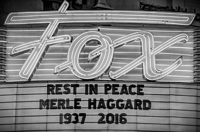 Photograph - Billboard Merle Haggard Rip Black And White by Connie Cooper-Edwards