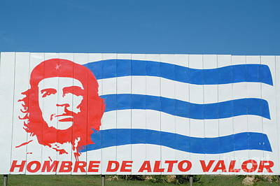 Billboard With The Iconic Che Guevara Portrait And National Cuban Flag Art Print by Sami Sarkis