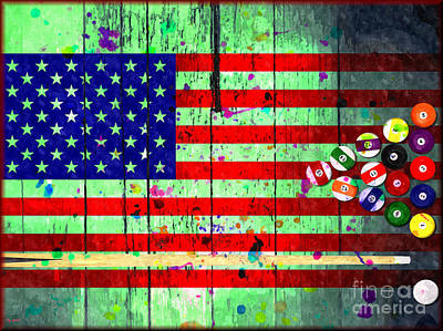 Billiard Mixed Media - Billiard American Flag Grunge by Daniel Janda