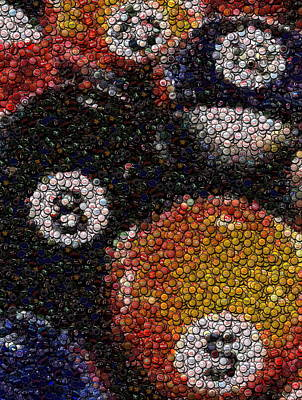 Billiard Ball Bottle Cap Mosaic Art Print