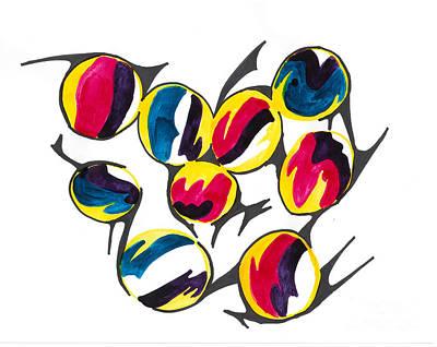 Mixed Media - Billiard Balls by Mary Mikawoz