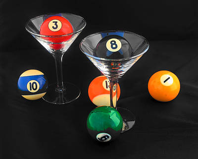 Martini Royalty-Free and Rights-Managed Images - Billiard Martinis by Joan Powell