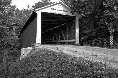 Photograph - Billie Creek Covered Bridge Black And White by Adam Jewell