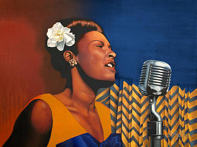 Blues Singers Painting - Billie Holiday, Blues Singer by Karl Melton