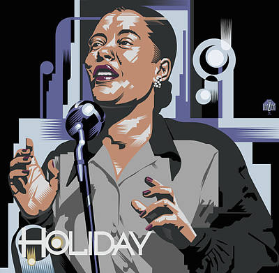 Billie Holiday In Black And Grey Original