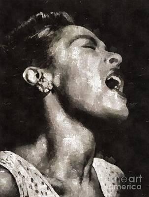 Elvis Presley Painting - Billie Holiday, Singer by Mary Bassett