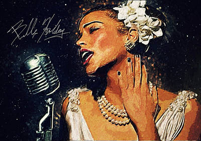 Music Digital Art - Billie Holiday by Taylan Apukovska