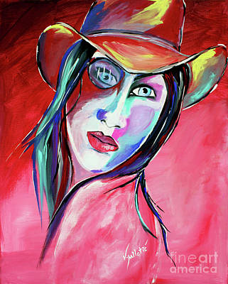 Barn Painting - Billie Lou - Cowgirl Art By Valentina Miletic by Valentina Miletic