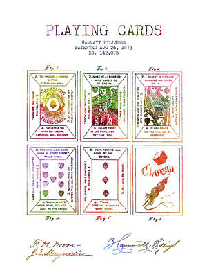 Playing Cards Digital Art - Billings Playing Cards Patent Drawing From 1873 -rainbow by Aged Pixel
