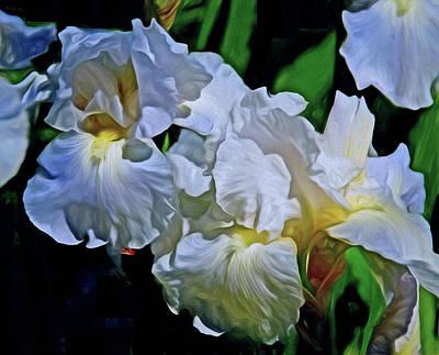 Mixed Media - Billowing White Irises by Lynda Lehmann