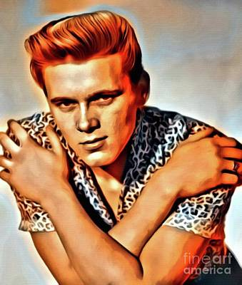 Music Paintings - Billy Fury, Music Legend. Digital Art by Mary Bassett by Esoterica Art Agency